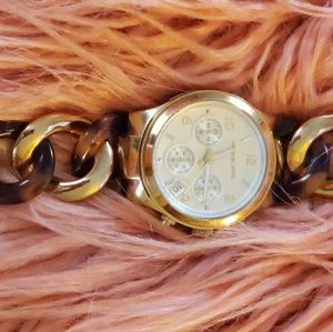 Michael Kors tortoise shell link watch